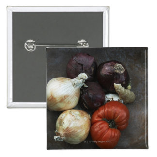 Heirloom tomato yellow onion red onion ginger pinback button