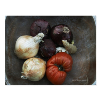 Heirloom tomato, yellow onion, red onion, ginger postcard
