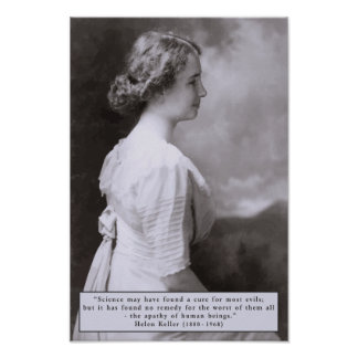 Helen Keller Quote on Apathy Poster
