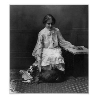 Helen Keller with Dog Poster