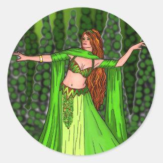 Helena Belly Dancer Classic Round Sticker