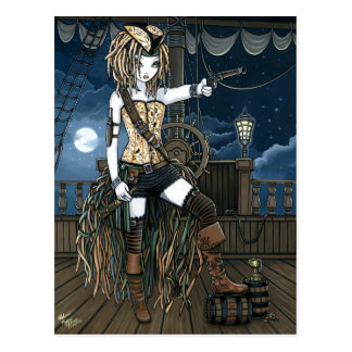 """Helena"" Sky Pirate Ship Moon Fae Postcard"