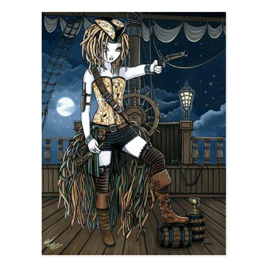 """Helena"" Sky Pirate Ship Moon Fae Postcard"