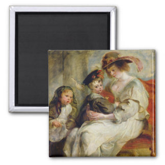 Helene Fourment  with Two of her Children Square Magnet