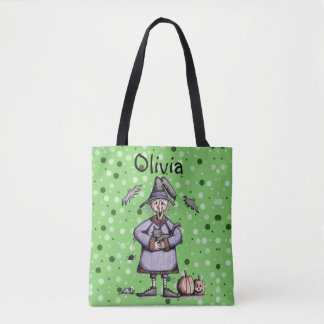 Helga Witch/Pumpkin Trick Or Treat Halloween Tote