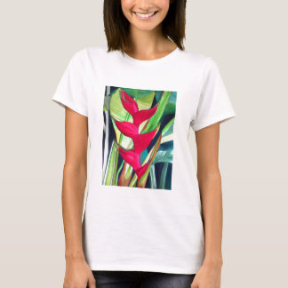 Heliconia Lobster Claw tropical watercolour flower T-Shirt