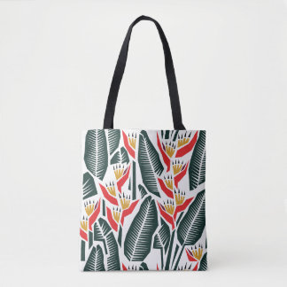 Heliconia on White All-over Print Tote/Cross Body Tote Bag