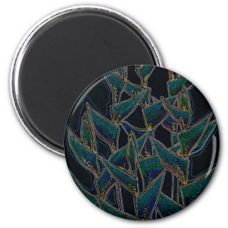 Heliconia Rostrata, tropical flowers, black & teal Magnet