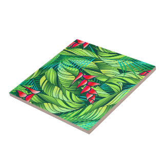 Heliconia tropical floral ceramic tile