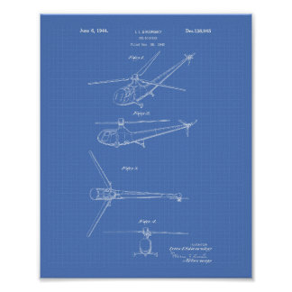 Helicopter 1944 Patent Art Blueprint Poster