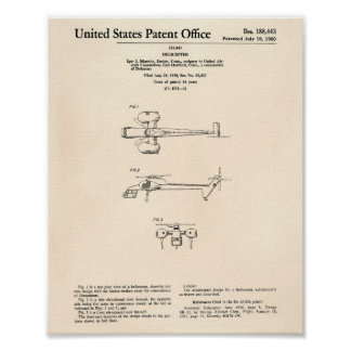 Helicopter 1960 Patent Art Old Peper Poster