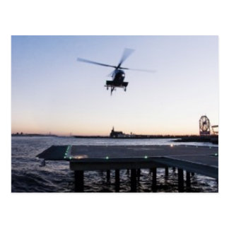 Helicopter at Paulus Hook Heliport, Jersey City Postcard