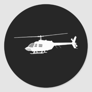 Helicopter Chopper Silhouette Flying Black Classic Round Sticker