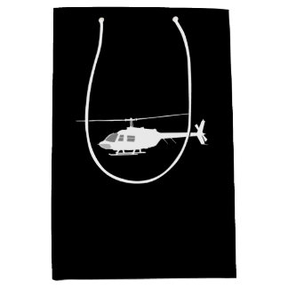 Helicopter Chopper Silhouette Flying Black Medium Gift Bag
