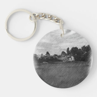 Helicopter Double-Sided Round Acrylic Key Ring