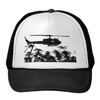 helicopter palm trees mesh hat