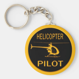 Helicopter Pilot Basic Round Button Key Ring