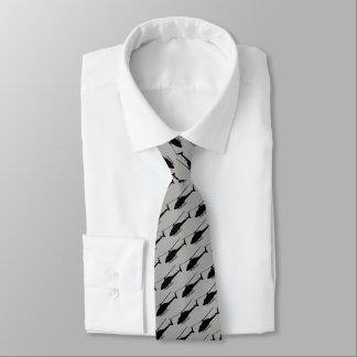 Helicopter Silhouette in Black and Grey Tie