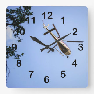 Helicopter Square Wall Clock