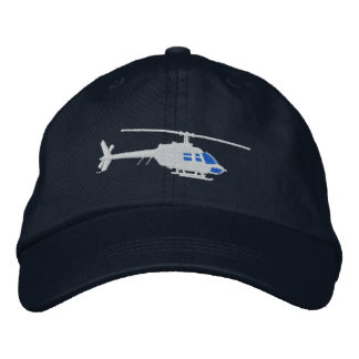 Helicopter Urban Chopper Silhouette Flying Embroidered Hat