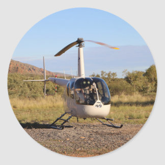 Helicopter (white), Outback Australia 2 Classic Round Sticker