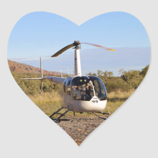 Helicopter (white), Outback Australia 2 Heart Sticker