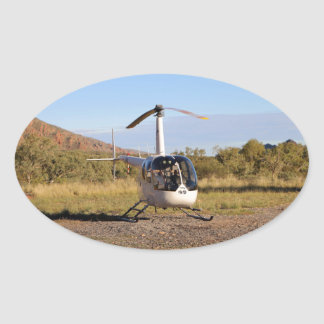 Helicopter (white), Outback Australia 2 Oval Sticker