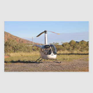 Helicopter (white), Outback Australia 2 Rectangular Sticker
