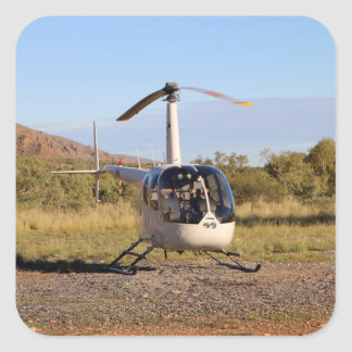 Helicopter (white), Outback Australia 2 Square Sticker