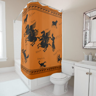 Helios and constelations shower curtain