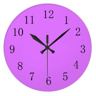 Heliotrope Reddish Purple Solid Color Large Clock