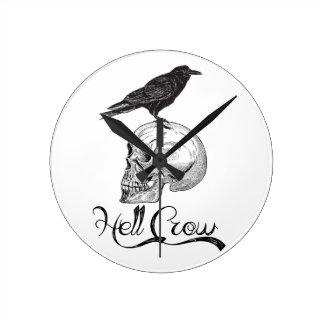 Hell Crow Halloween Round Clock