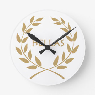 Hellas with Gold olive Wreath Clock