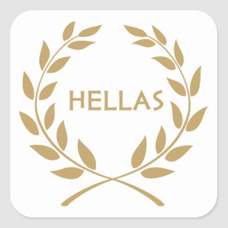 Hellas with Gold olive Wreath Sticker