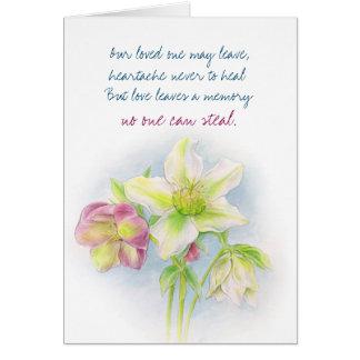 Hellebore flower condolences sympathy card