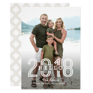 Hello 2018 EDITABLE Back Colour New Year Card