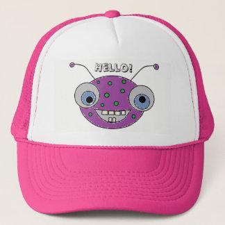 HELLO Adorable Happy Purple Alien Monster Print Trucker Hat