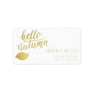 Hello Atumn   Faux Gold Brush Script Label