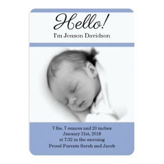 HELLO Baby Boy Birth Announcements