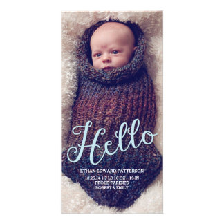 Hello Baby Boy Modern Birth Announcement Photocard Custom Photo Card