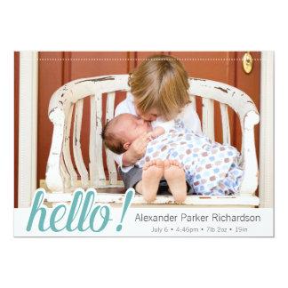 Hello Baby Boy Photo Birth 13 Cm X 18 Cm Invitation Card