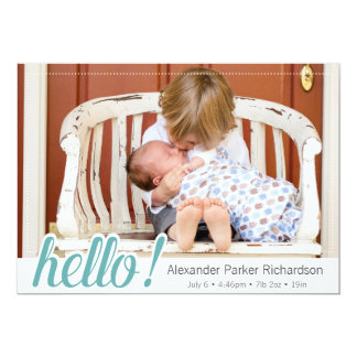 Hello Baby Boy Photo Birth Card