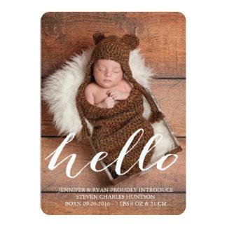 HELLO BABY MODERN BIRTH ANNOUNCEMENT PHOTOCARD