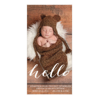 HELLO BABY MODERN BIRTH ANNOUNCEMENT PHOTOCARD PHOTO GREETING CARD