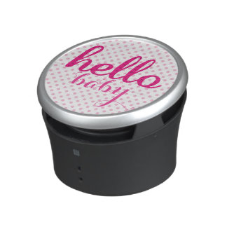 Hello baby Personalized Modern Pink dots Bluetooth Speaker