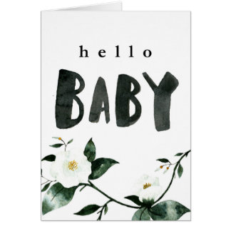 Hello Baby Watercolor Floral Card