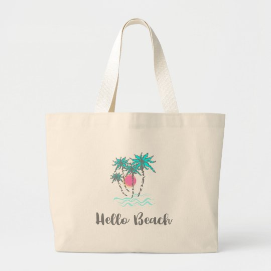 Hello Beach Tropical Style Summer Cool Large Tote Bag