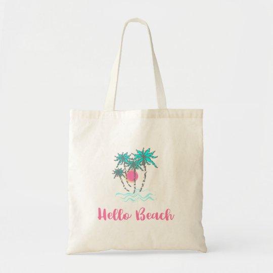 Hello Beach Tropical Style Summer Fun Tote Bag