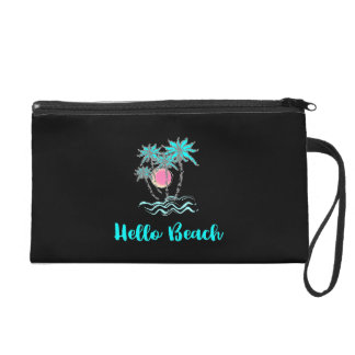 Hello Beach Tropical Summer Modern Black Wristlet
