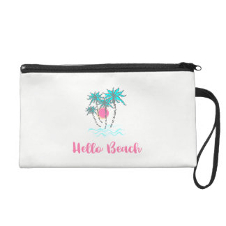Hello Beach Tropical Summer Modern Pink Wristlet